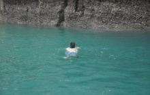 swimming towards the route