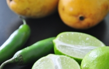 Serrano peppers, mangoes and limes