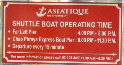 shuttle boat timetable