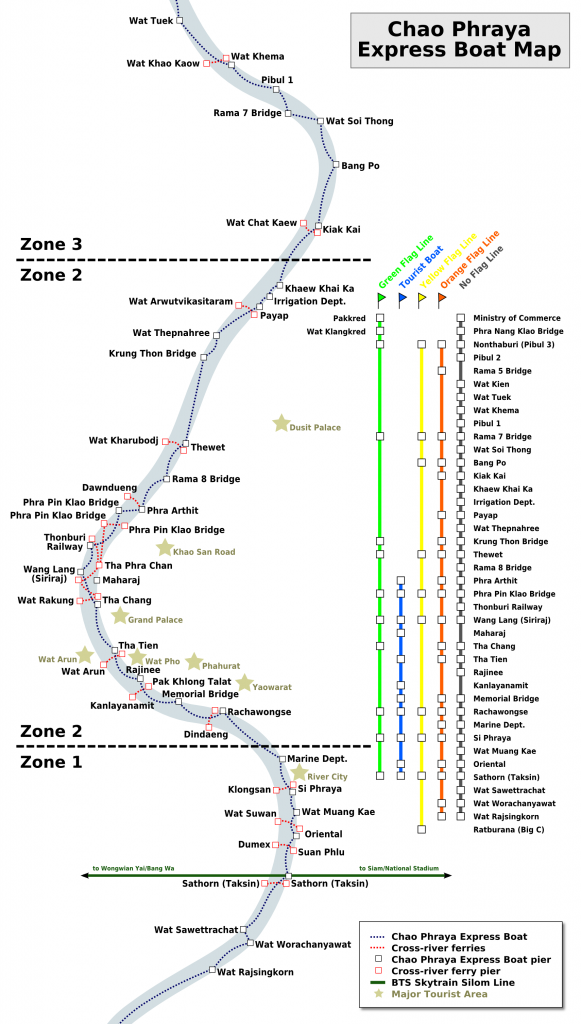 Chao Phraya Express Boat Map